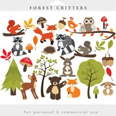 Cute woodland creatures clipart.