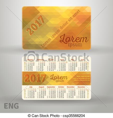 Vector Clipart of English pocket golden colors calendar for 2017.
