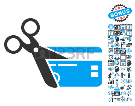 Cut Credit Card Icon With Bonus Calendar And Time Management.