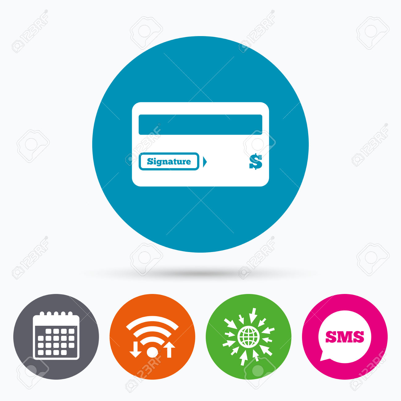 Wifi, Sms And Calendar Icons. Credit Card Sign Icon. Debit Card.