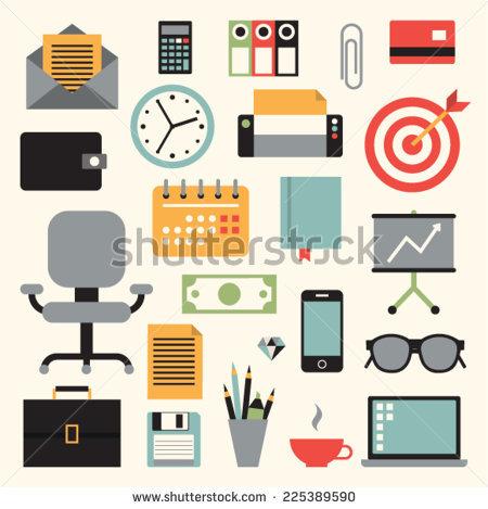 Vector Illustration Icon Set Of Business: Envelope, Calculator.