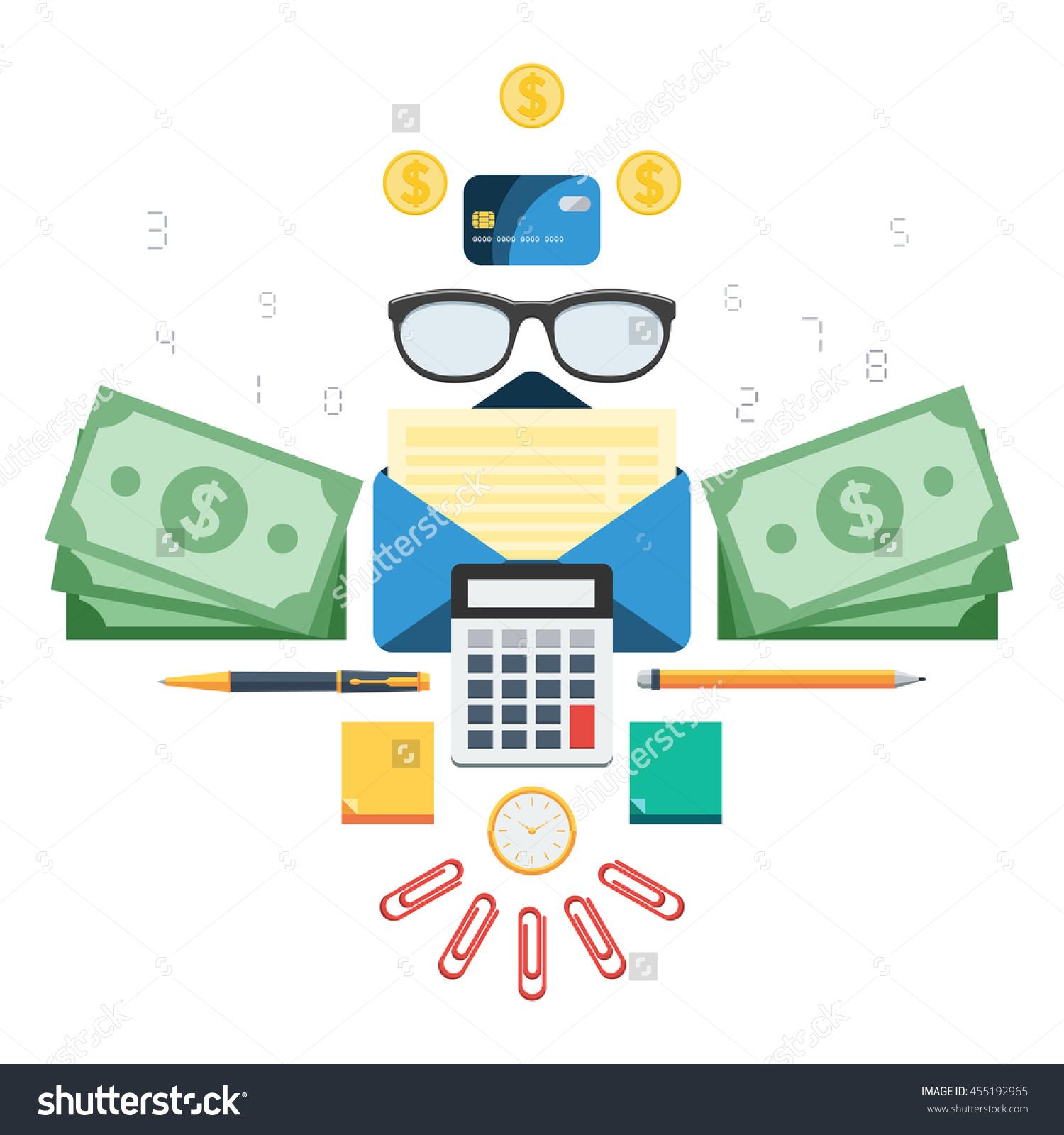 Finance Set: Calculator, Money, Paper, Glasses, Calendar, Pen.