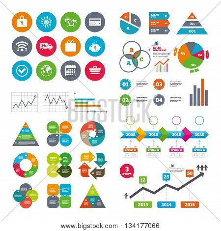 Wifi, calendar and web icons. Online shopping, e.
