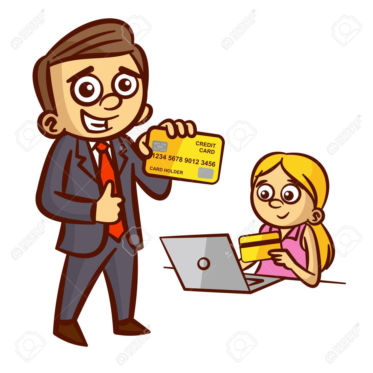 Businessman Woman Credit Card Clipart.