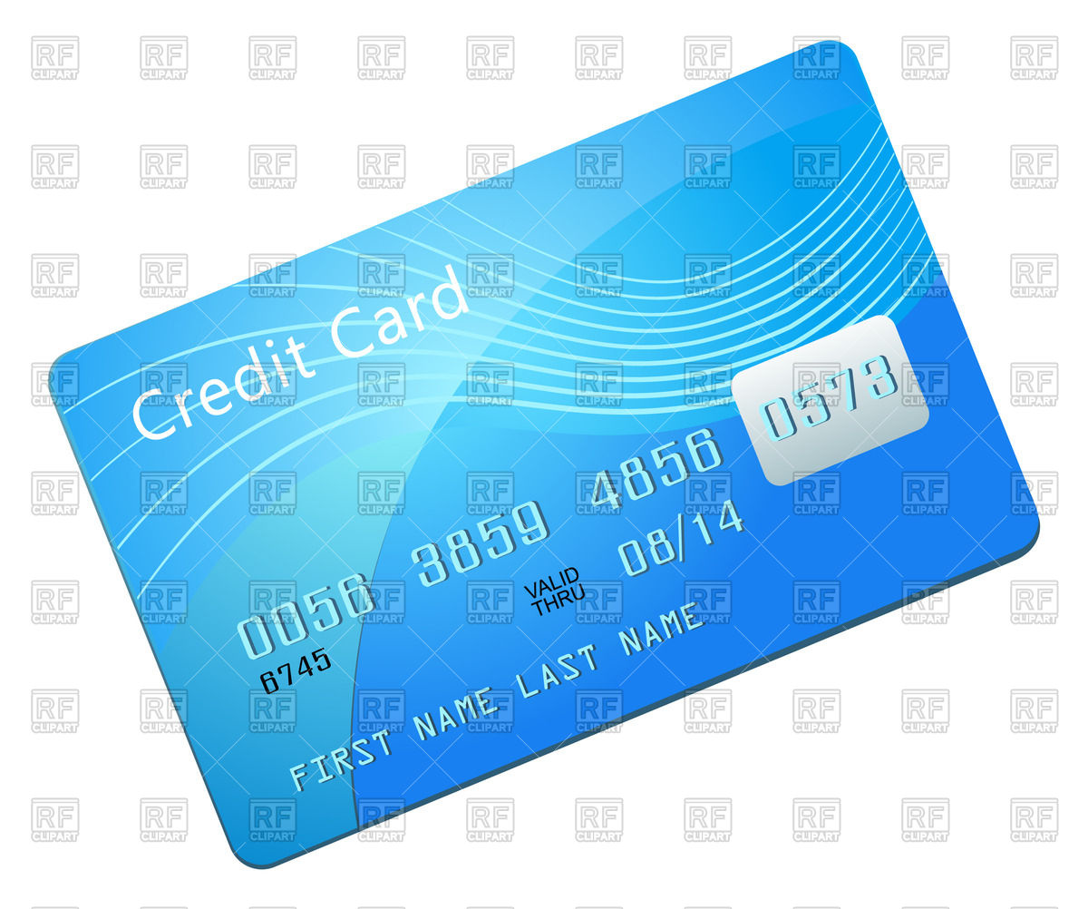 Credit Card blank blue template Stock Vector Image.