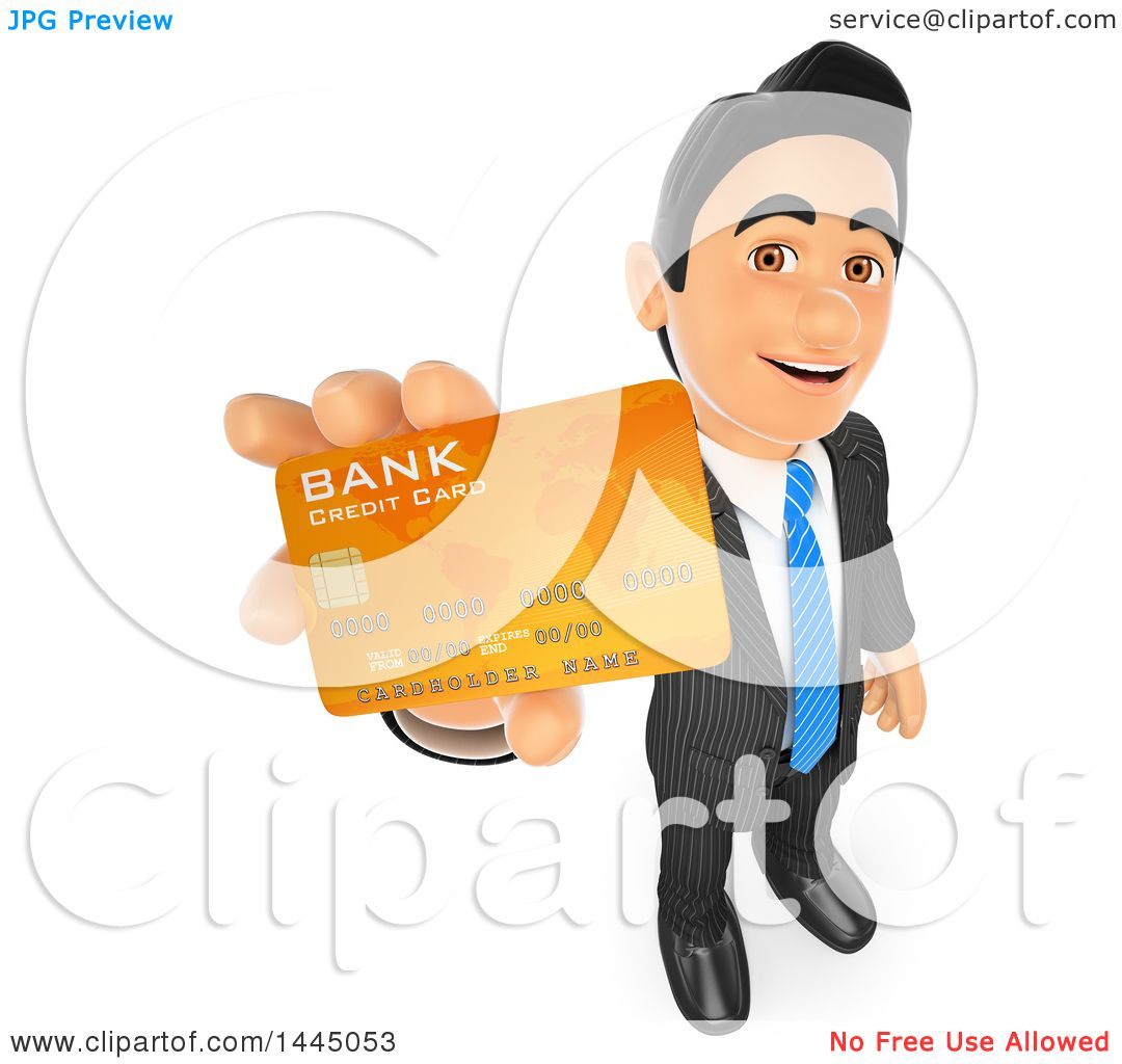 Clipart of a 3d Business Man Holding up a Credit Card, on a White.