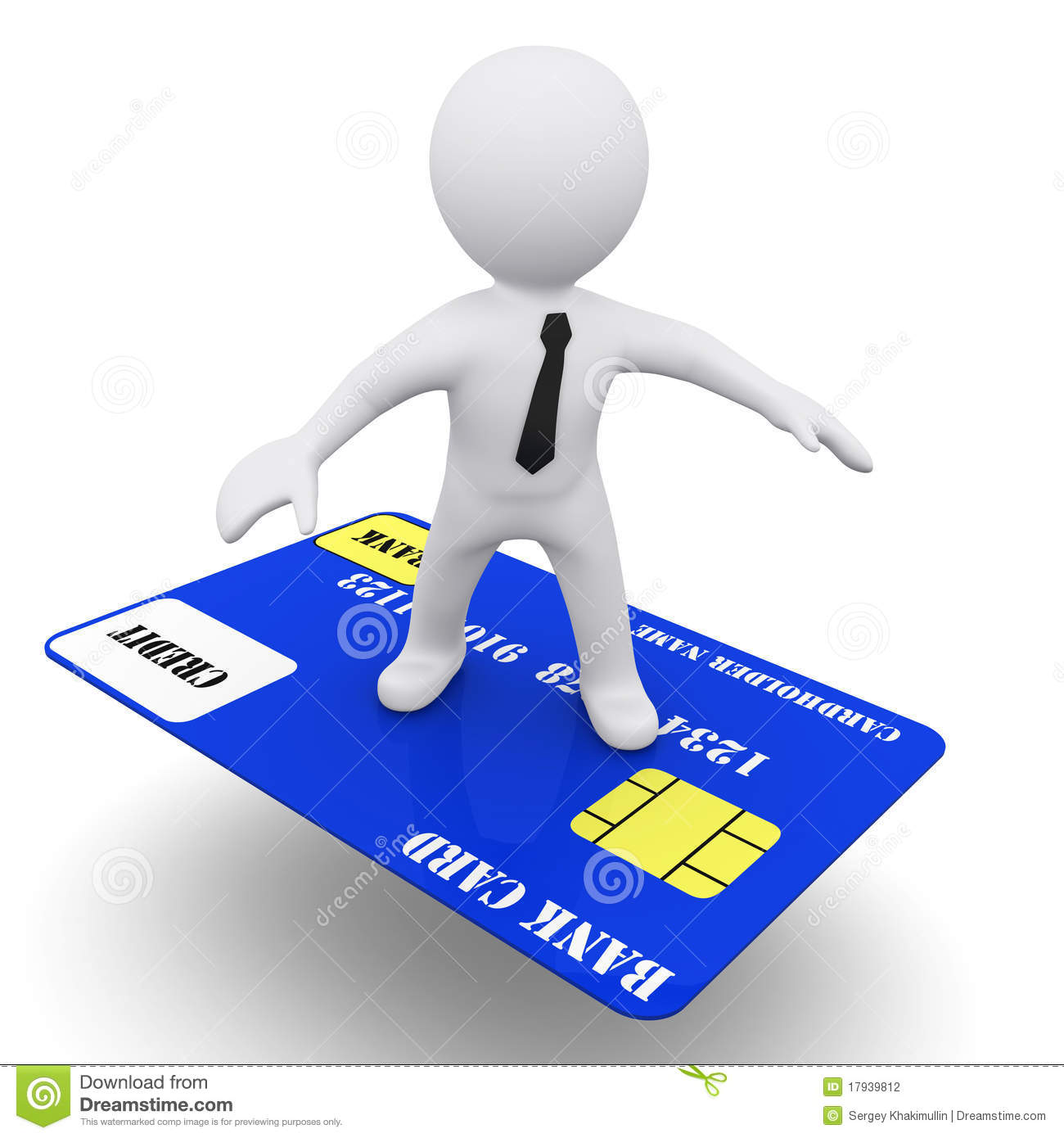 3D Man With Credit Card Stock Photography.