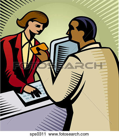 Clipart of A man making a purchase with a credit card sps0311.