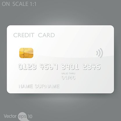 White credit card template Clipart Image.