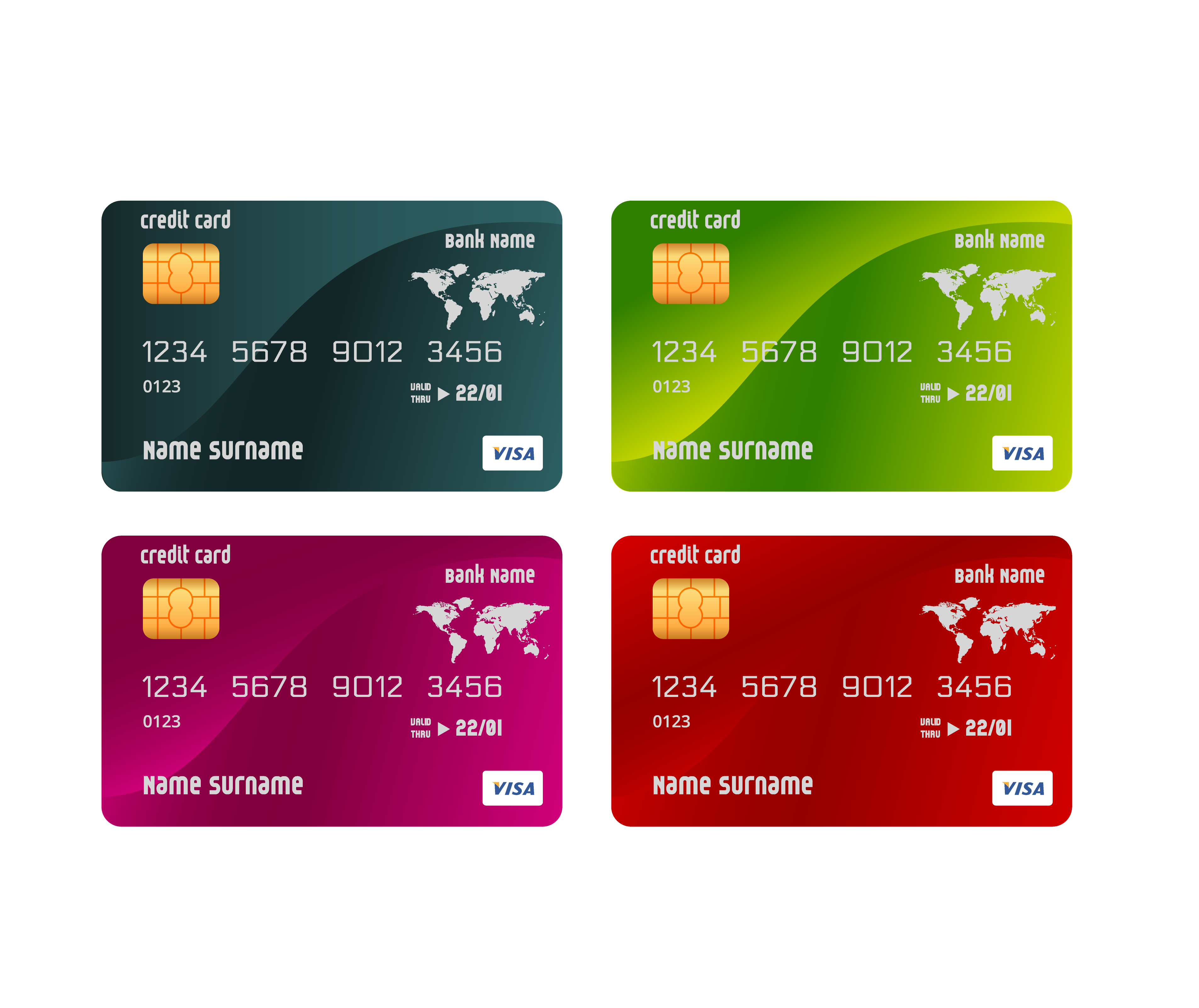 Credit card ATM card Template.
