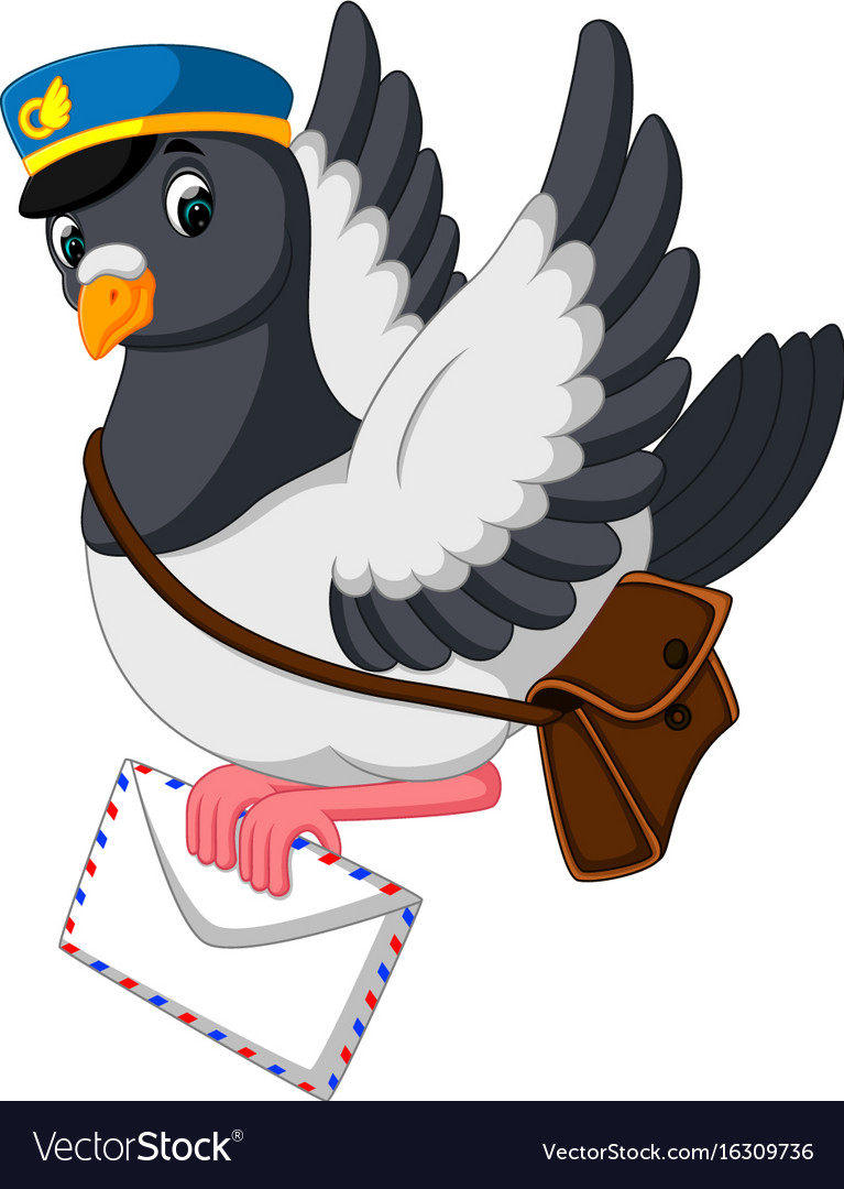 Cartoon funny pigeon bird delivering letter vector image.