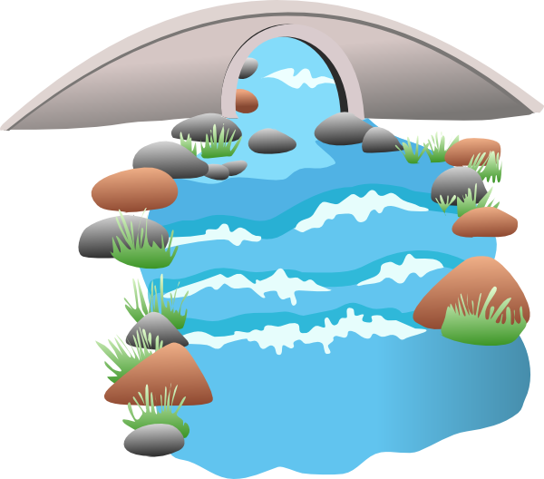 Clip Art Water With Bridge Clipart.