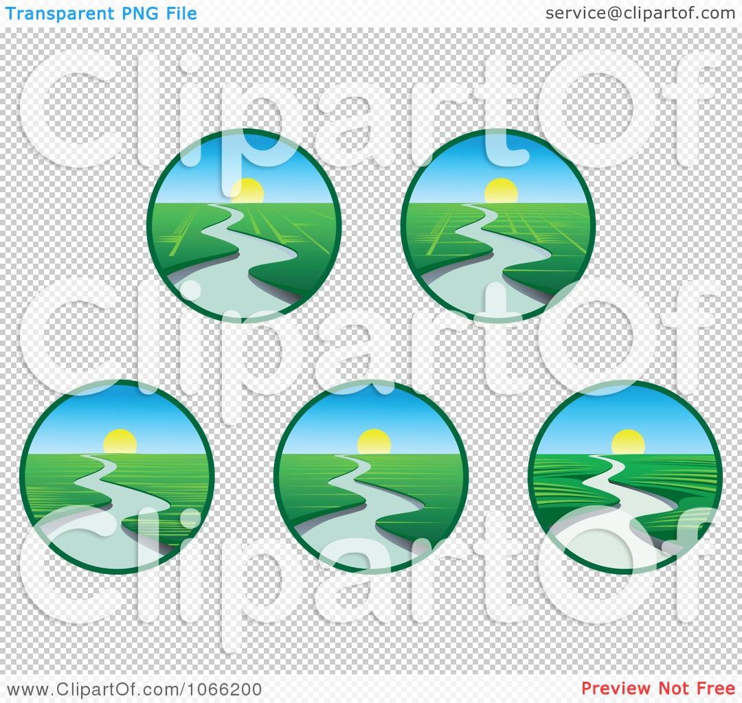 Clipart Creek And Sunset Landscapes.