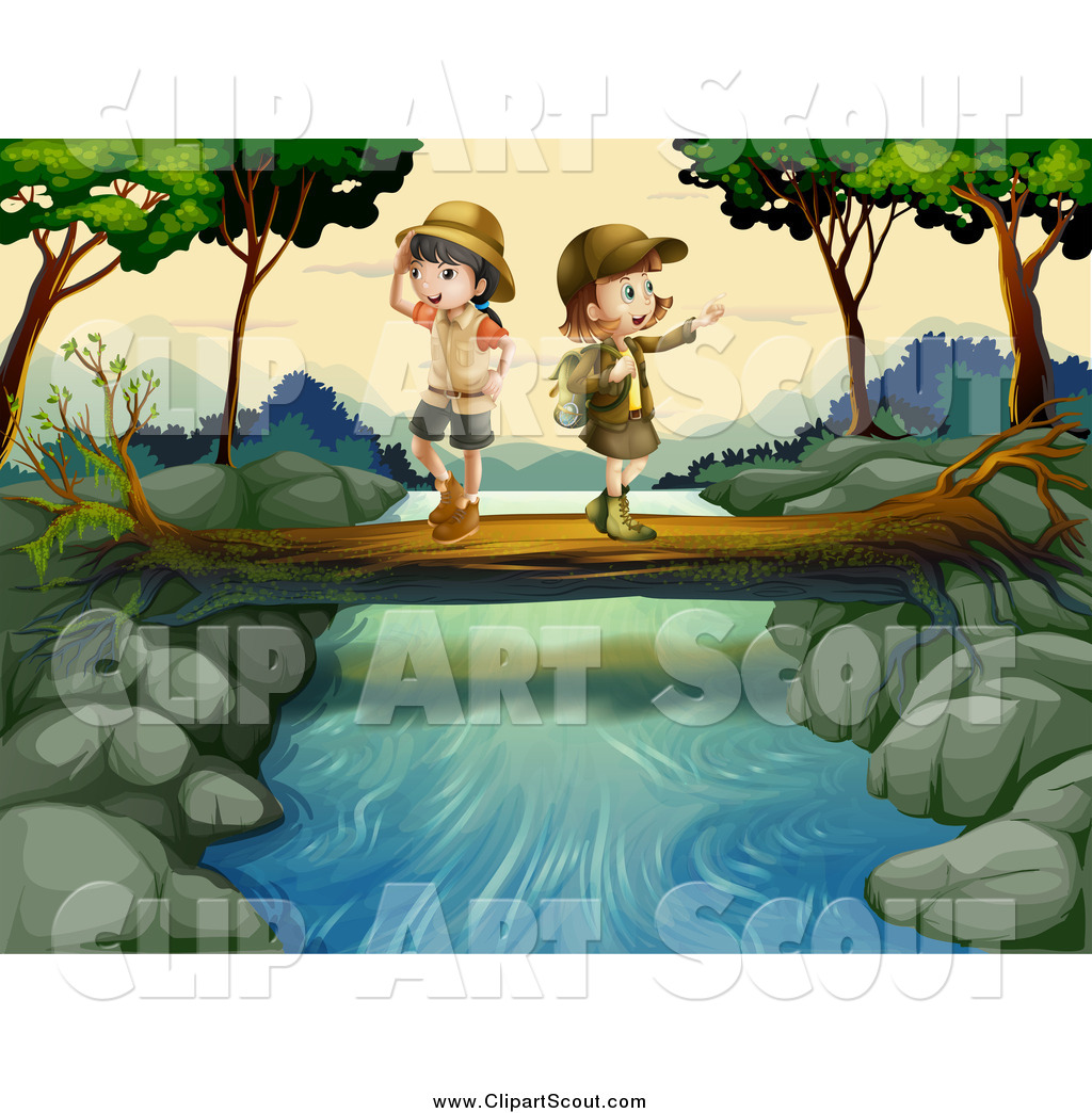 Clip Art Of Cabins By Creek Clipart.