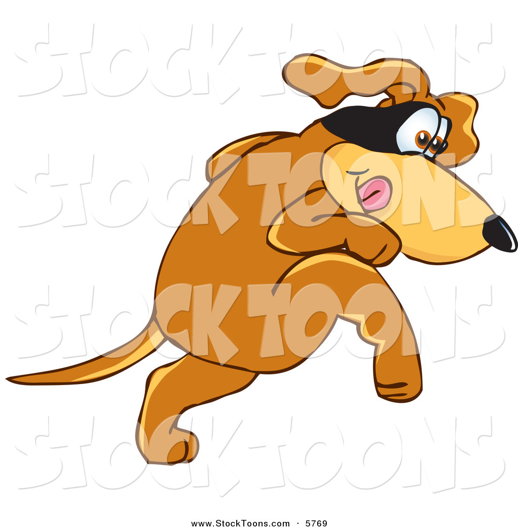 Stock Cartoon of a Creeping Brown Dog Mascot Cartoon Character.