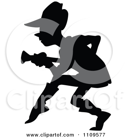 Clipart of a Retro Vintage Silhoueted Black and White Sneaky Girl.