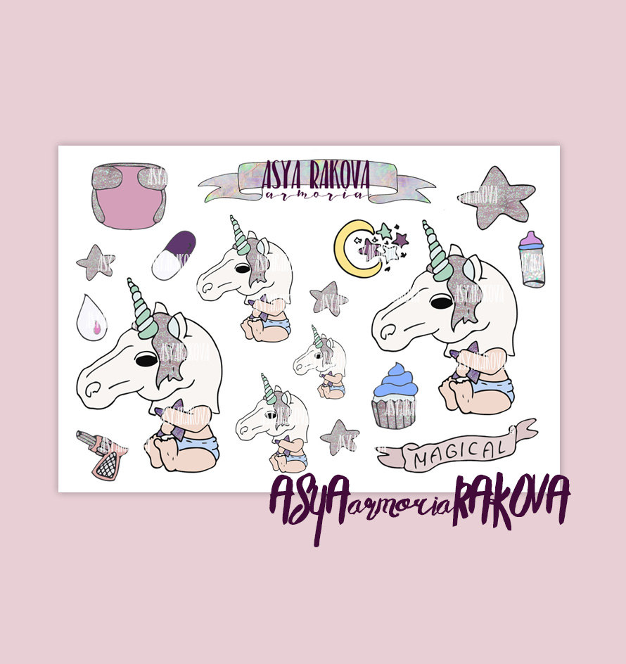 Baby Unicorn Stickers, Creepy Unicorn stickers, kawaii stickers.