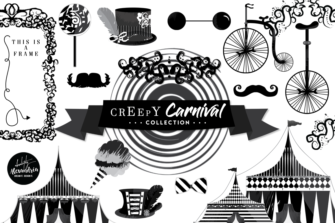 Creepy Carnival Clipart Graphics & Digital Paper Patterns Bundle.