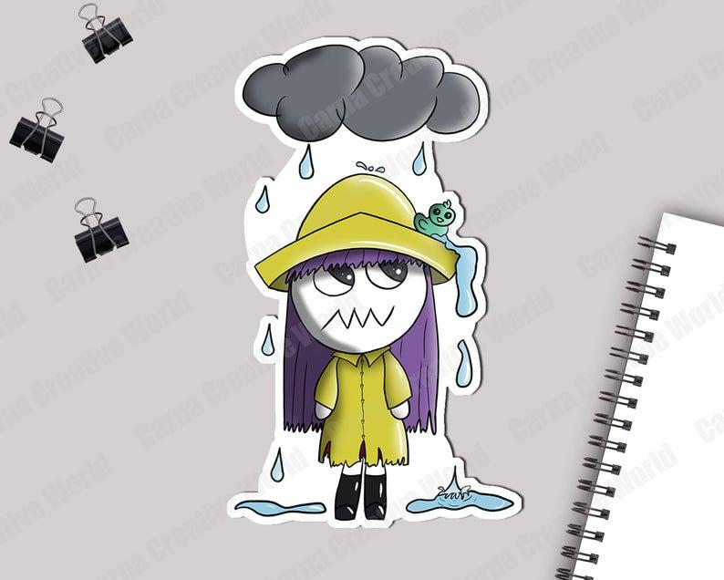 Printable, Creepy Doll, Die Cut, Clipart, Rain, Raincoat, Autumn, Duck,  Cute, Tim Burton, Planner, Notebook, Bullet journal.