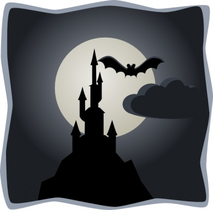 Spooky Castle In Full Moon clip art free vector.
