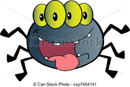 Vector Clip Art of Four Eyed Creepy Spider Cartoon Character.