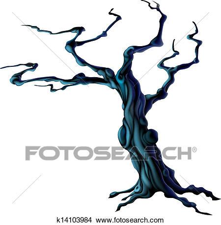 Spooky Halloween Tree Clipart.