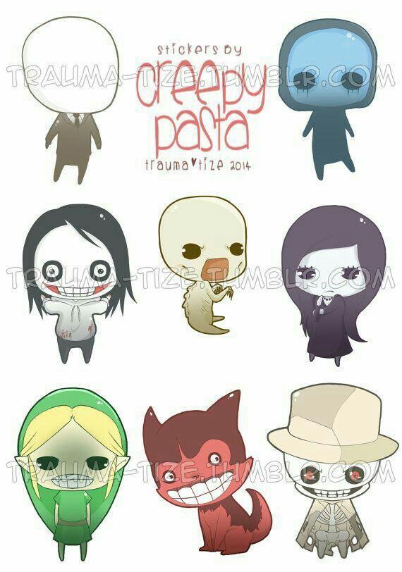 Creepypasta characters, text, cute, chibi; Creepypasta.