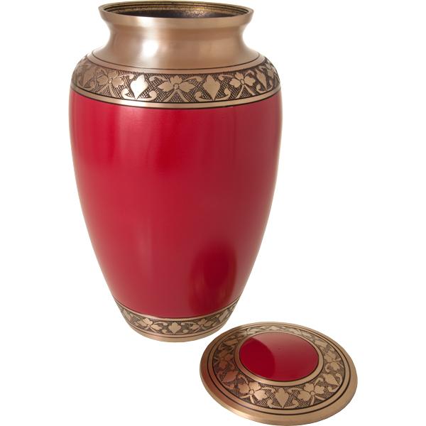 Cherry Red Cremation Urn.