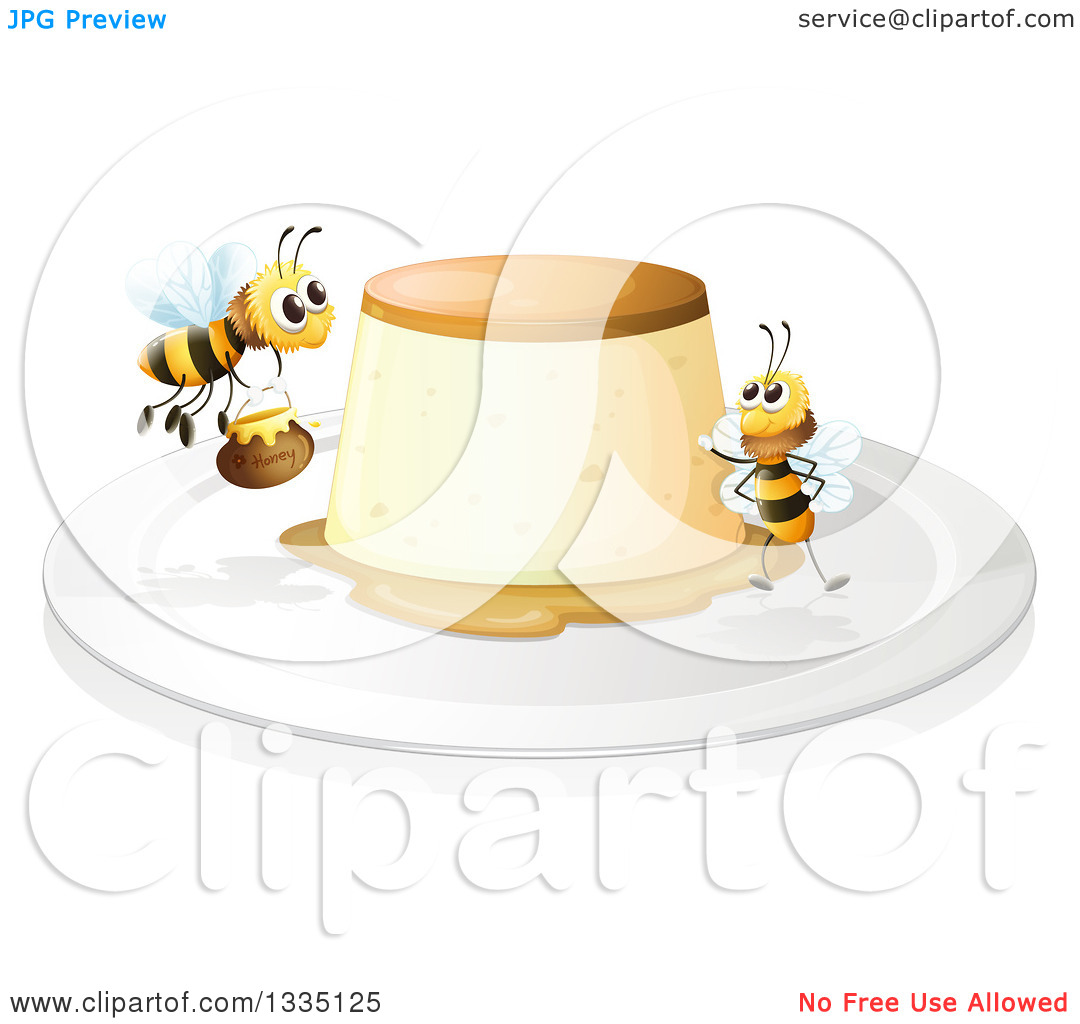 Clipart of a Creme Brulee Dessert and Bees.