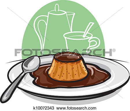 Clipart of Caramel custard pudding k14385584.