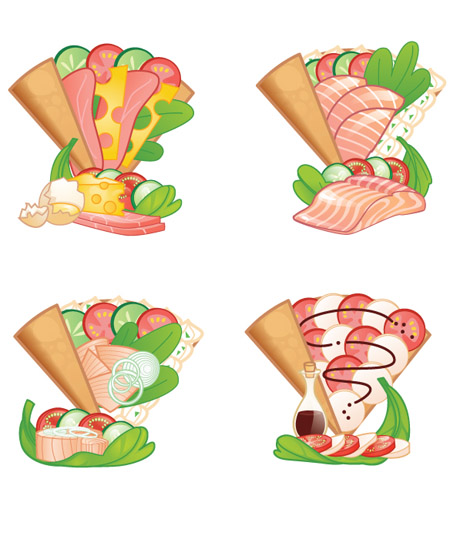 Seafood Crepe Illustrations Clipart.