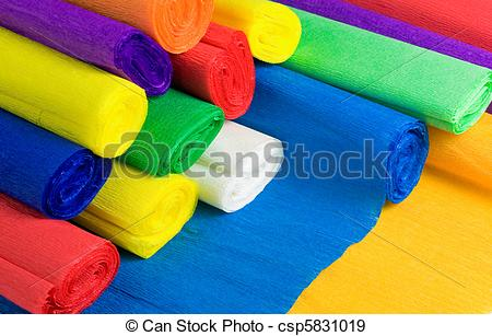 Stock Photographs of Colored bundles of crepe paper csp5831019.