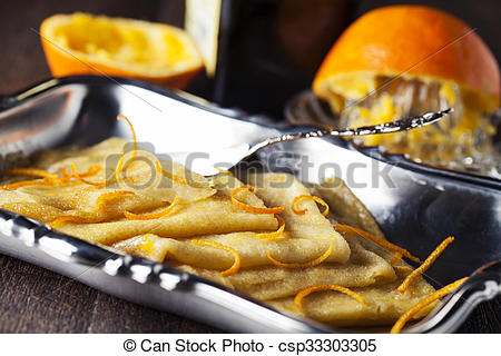 Stock Photography of Crepe suzette, traditional french pancakes.