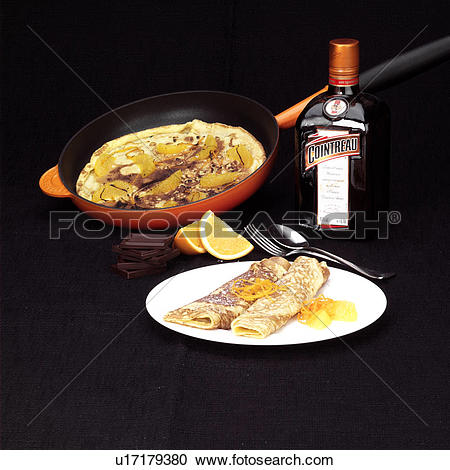 Stock Photography of Crepes Suzette.