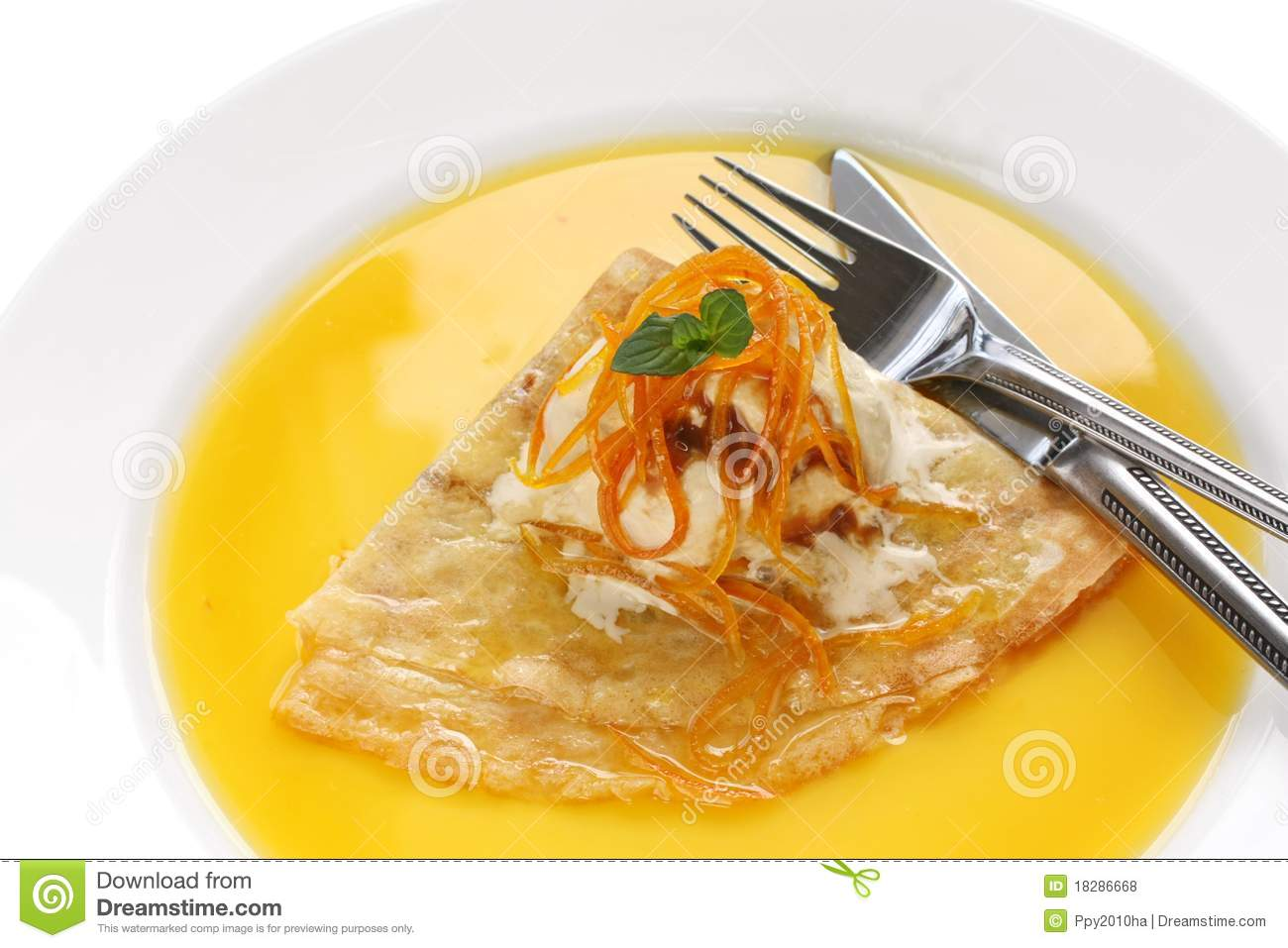 Crepes Suzette , French Dessert Stock Images.