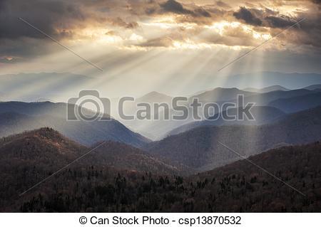 Stock Photos of Appalachian Mountains Crepuscular Light Rays on.