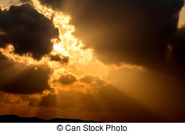 Stock Image of Crepuscular rays.