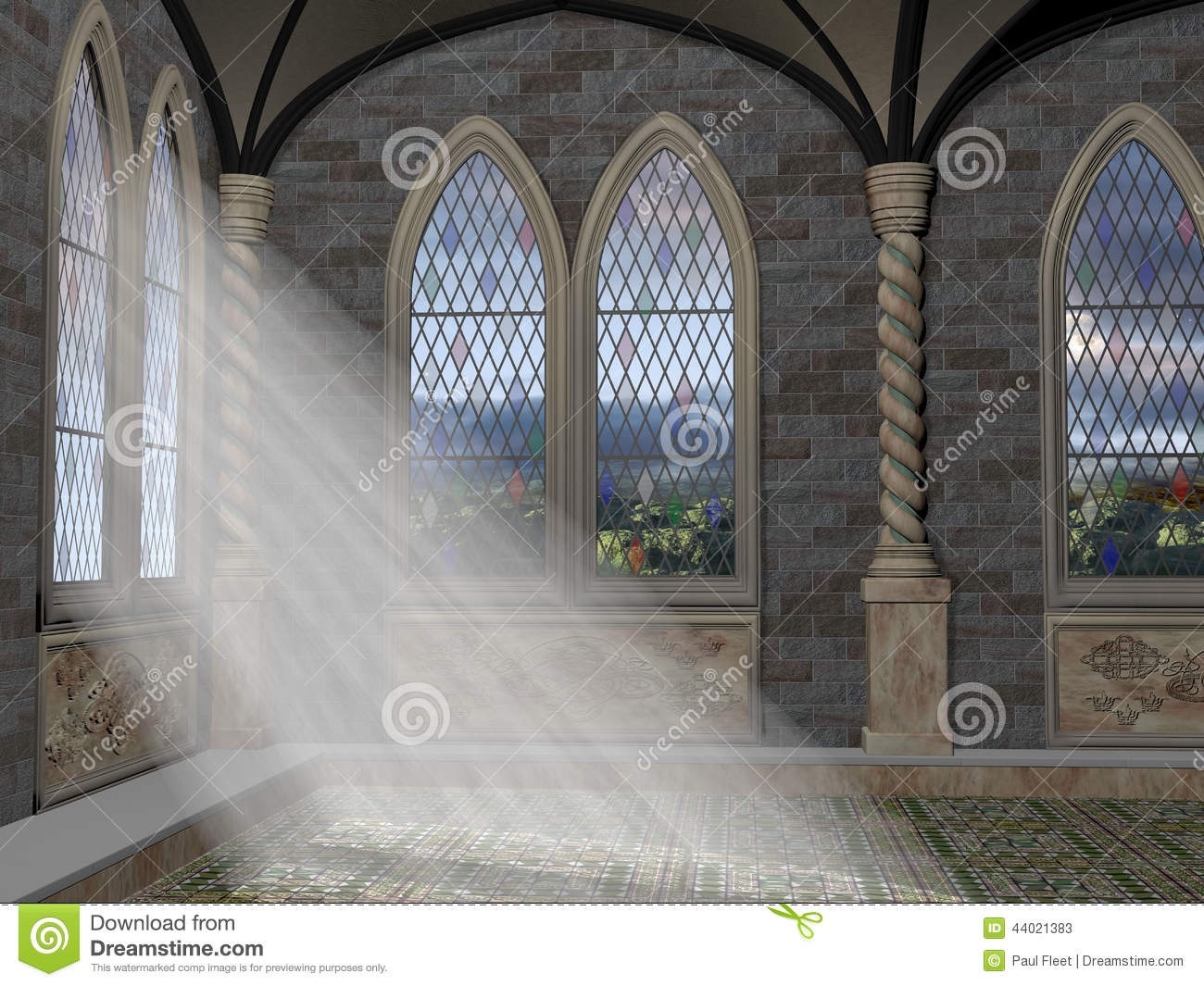 God Rays Through An Arched Window Stock Illustration.