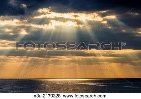 Pictures of Crepuscular rays, or Jacobs Ladder over Bideford Bay.