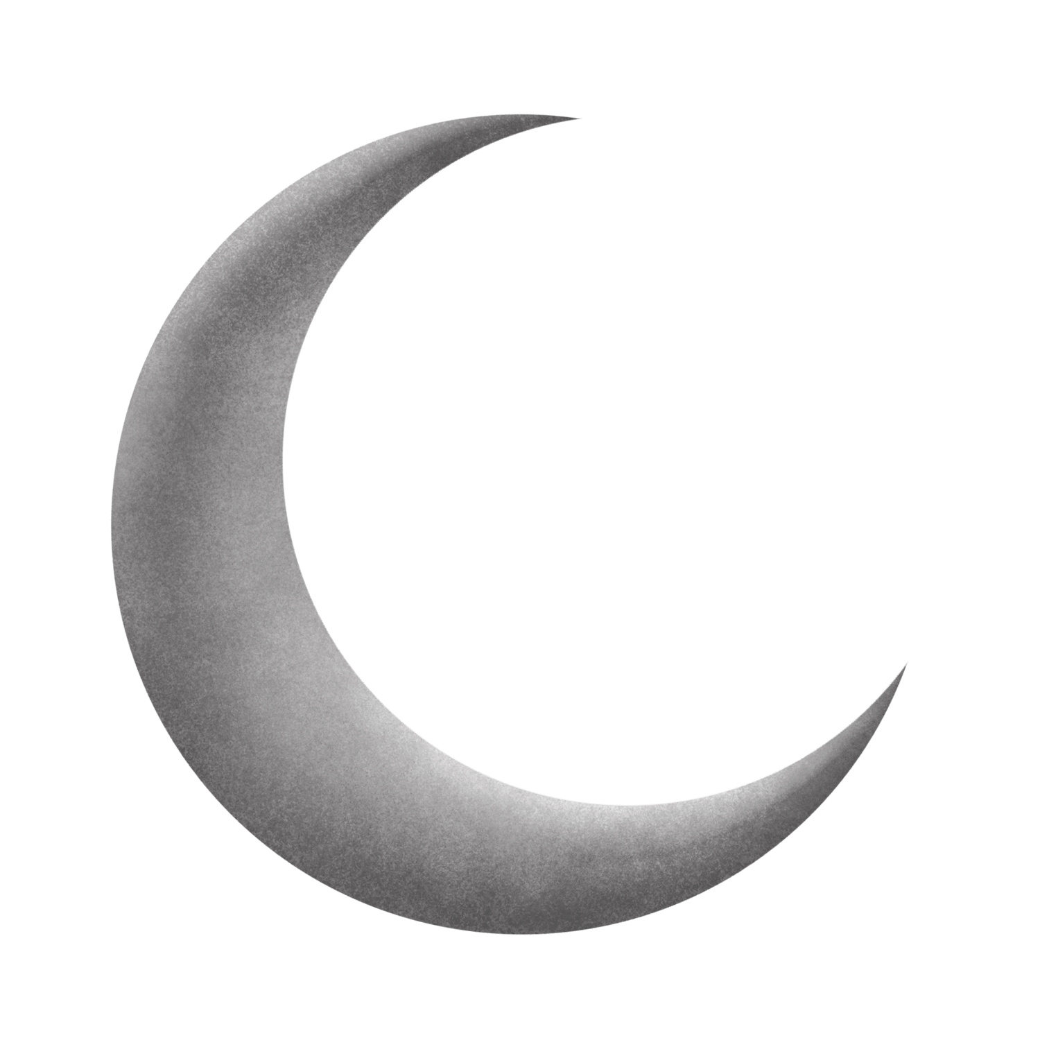 Silver Grey Moon Crescent transparent PNG.