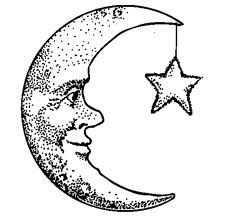 crescent moon face drawing.