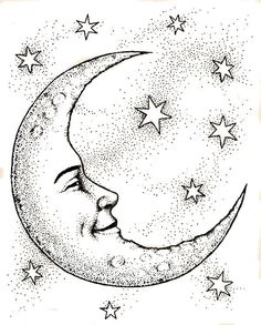 Crescent moon face outline clipart clipground for Crescent moon coloring page