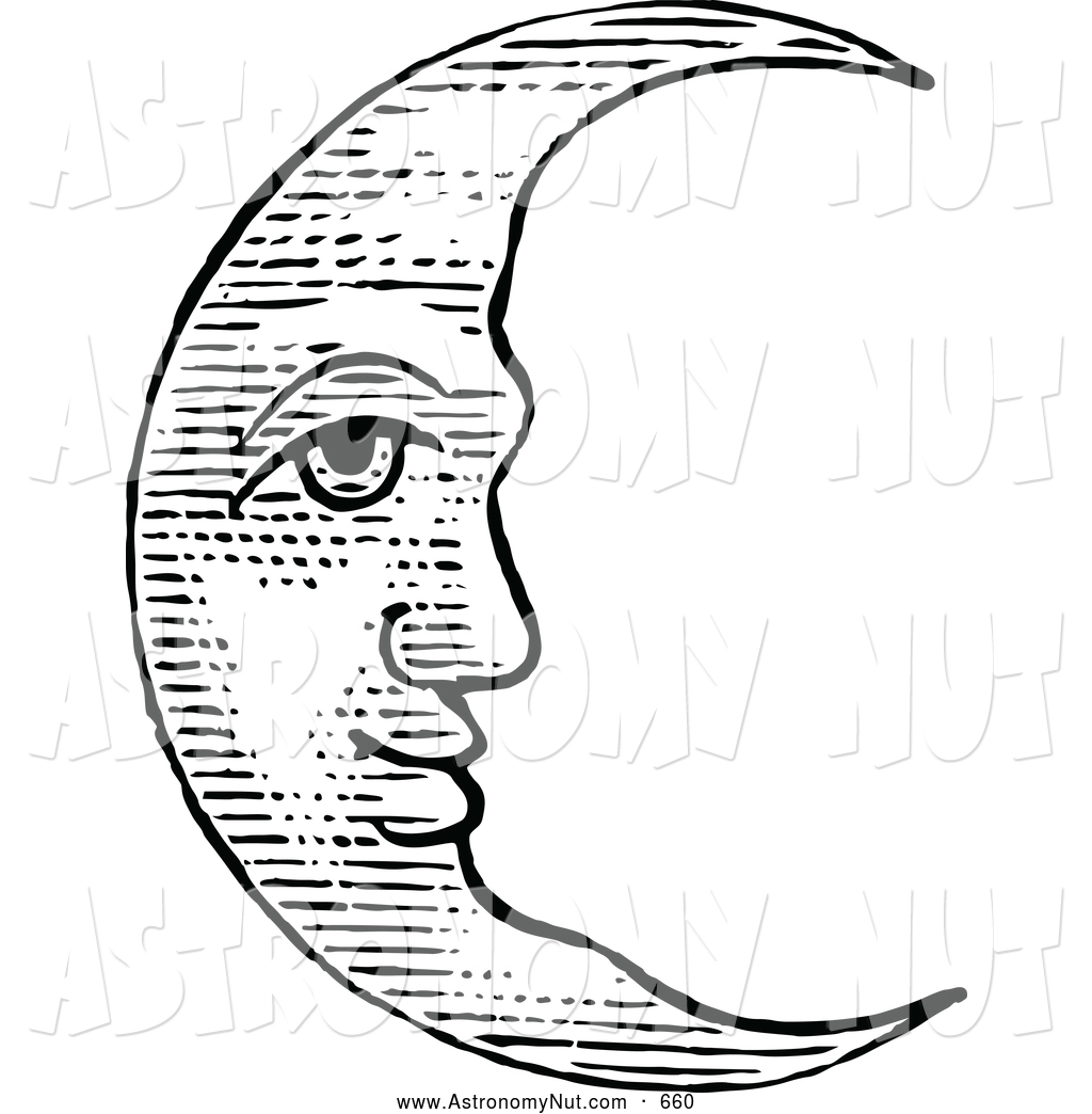 Crescent Moon Face Clipart#2181729.