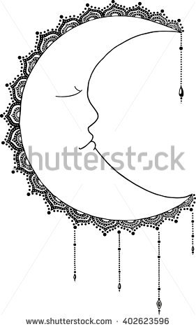 Crescent Moon Face Stock Images, Royalty.
