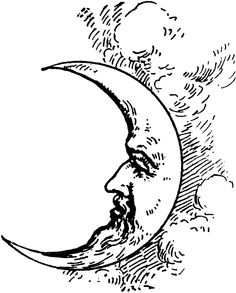 face in the crescent moon drawing tumblr.