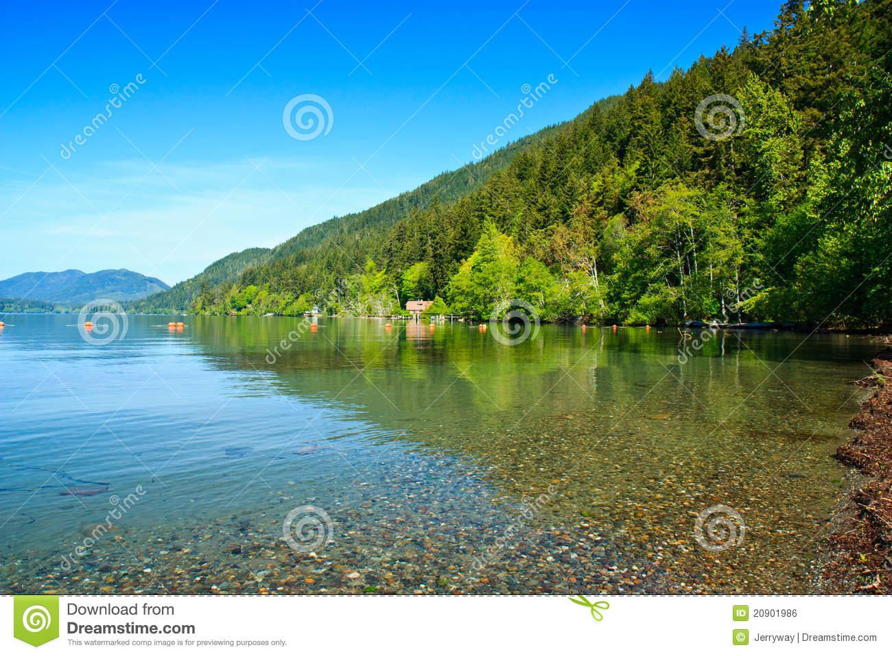 Crescent Lake, Olympic National Park Stock Photo.