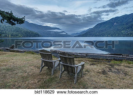 Stock Photograph of Olympic National park, Crescent Lake Lodge.