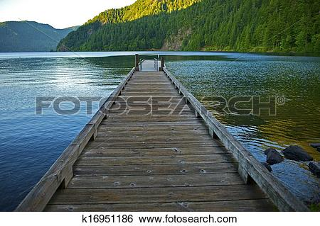 Stock Images of Dock Over Crescent Lake k16951186.