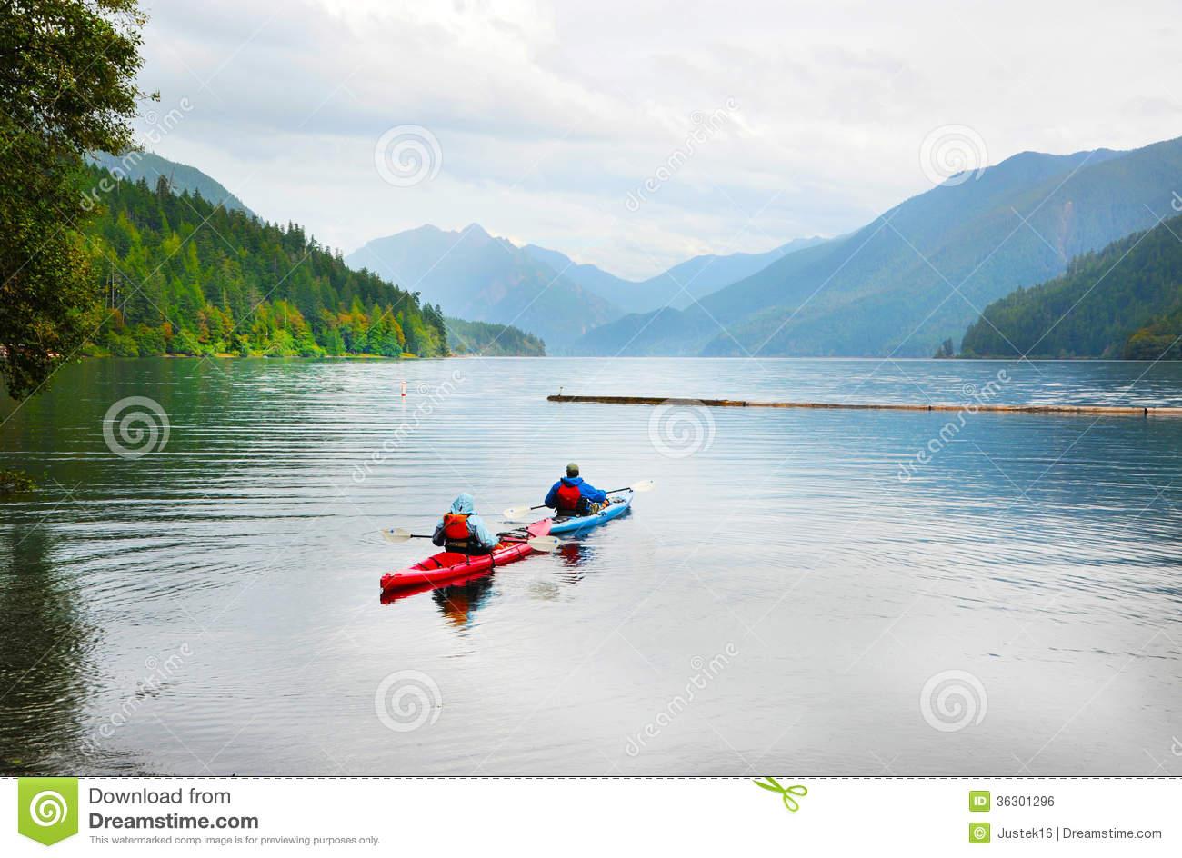 Kayaking On Crescent Lake Royalty Free Stock Image.