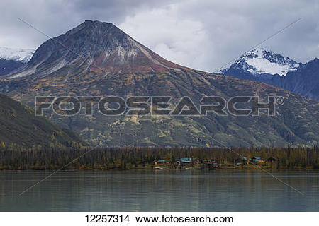 """Stock Photo of """"Scenic view of Redoubt Mountain Lodge on Crescent."""